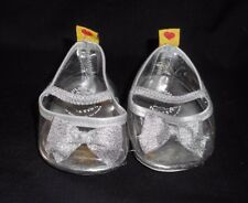 PAIR BUILD A BEAR CLEAR GLITTER HIGH HEEL SHOES W/ SILVER BOW TIES SPARKLY BABW