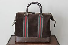 Authentic Vintage GUCCI Suede Duffel Travel Bag Carry On Luggage Unisex Rare