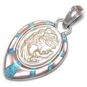 Offerings Sajen SS White Mabe Cameo, Pink Shell & Created Opal Inlay Pendant