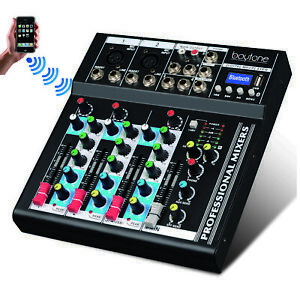 4 Channel Bluetooth Audio DJ Mixer Sound System, with 48 Phantom, USB MP3 player