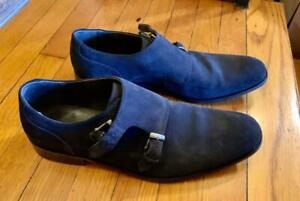 John Varvatos Black Suede Buckle Shoe Men Size 12 New In Box