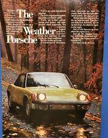 1973 VINTAGE PRINT AD - PORSCHE 914 THE WEATHER PORSCHE GREEN FALL LEAVES