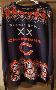 NFL Chicago Bears Ugly Christmas Holiday Sweater 2XL Football NWT Super Bowl XX