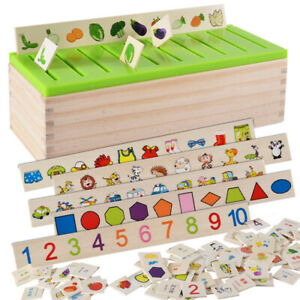 Educational Montessori Wooden Classification Sorting Box Toy for Toddler/Kids