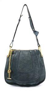 CHLOE $1,750 Steel Blue Calfskin Suede Small HAYLEY Chain Hobo Bag