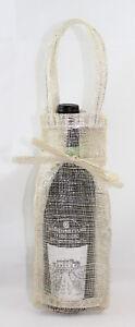 10 SacchettI Porta 1 bottiglia Vino Confezione regalo Juta Laminata Argento