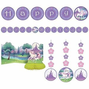 Unicorn Party Decorations Supplies Centerpiece, Jointed Banner, Dizzy Danglers