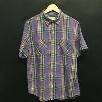 Mens Large RALPH LAUREN Denim & Supply Shirt Short Sleeve Purple Plaid 5c