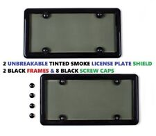 2 UNBREAKABLE TINTED SMOKE LICENSE PLATE SHIELD COVERS + 2 BLACK FRAMES + 8 CAPS