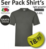 "5er Pack TShirt Original ""Fruit of the Loom"" UNISEX Herren grau S M L XL XXL"