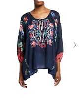 NWT $250 Johnny Was L Rosey Embroidered Semi-Sheer Tunic Top Fits XL