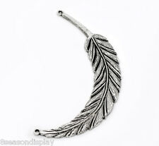 5 Silver Tone Feather Charm Pendants 95x18mm