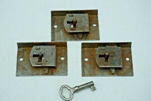 3 Matching Mid 1880's Dresser Drawer Locks & Key, Salvaged Furn. Locks