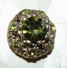 Vintage Green Jeweled Button on Original Card