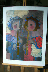 LITHOGRAPHIE  ROSINA WACHTMEISTER  2  MUSICIENS