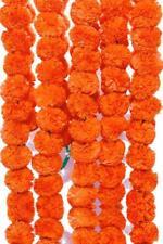 40 Piece Artificial Genda Orange Strings Marigold Flowers for Decoration 4.5 ft
