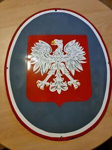 Vintage Metal Polish Eagle Raised Enameled Communist Government Building Sign.