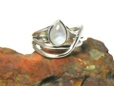 Pear shaped  MOONSTONE   Sterling  Silver   925  Gemstone   RING  -  Size: T