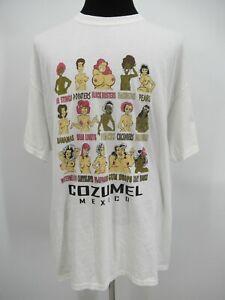 P4713 VTG Gildan Men's Humor Cozumel Mexico Character T-Shirt Size 2XL