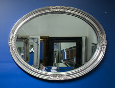 Silver Large Oval Round Wall Mirror & Frame, Antique, Designer 100cm x 75cm