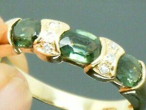 9ct Gold Tourmaline & Diamond Hallmarked Ring size R