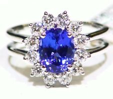 3.16ct 14k oro TANZANITE NATURALE DIAMANTE BIANCO MATRIMONIO AAAA
