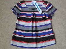 EX M&S PETITE BLACK MIX STRIPE LIGHTWEIGHT BUST & SLEEVE PINCH PLEAT TOP SIZE 8