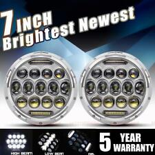 Chrome DOT 7 inch Round LED Headlight Pair Halo Hi-LO For Jeep Hummer Chevy Ford