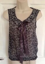 RIVER ISLAND Ladies grey animal print collar bow top size 8
