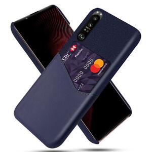 For Sony Xperia 1III 5III 10III Case Fashion PU Leather Back Cover Card Hard PC