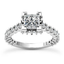 Solitaire Pave 1.62 Carat Princess Diamond F/SI Engagement Ring 14K White Gold