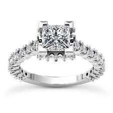 Solitaire Pave 1.62 Carat Princess Diamond F/SI Engagement Ring 14K Enhanced
