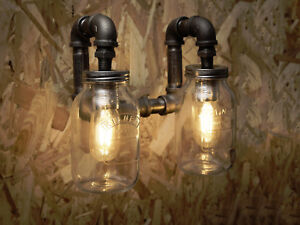 Double Black industrial iron pipe wall light with vintage Kilner jars fre UK P&P