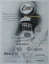 PUBLICITE ESSO CARBURANT BUGATTI VOISIN HOTCHKISS DELAGE DE 1931 FRENCH AD PUB