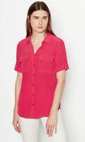 $198 Slim Signature Equipment 100% Silk Short Sleeve Shirt Rosseta