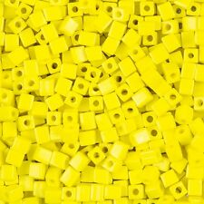 Miyuki Opaque Yellow 4mm Square (Cube) Glass Seed Beads 20g Tube (B87/15)