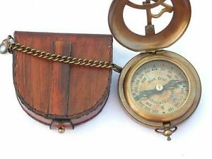 Compass Push SteampunK with Leather Case and ChainOpen Brass Sundial Compass -