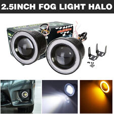 """2x 2.5"""" Inch LED Projector Amber COB Angel Eyes Fog Light Halo Ring Driving Lamp"""