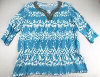 Chicos Blue white beaded viscose 3/4 sleeve BOHO Tunic top size 3 / XL Beachy