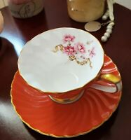 Aynsley tea cup and saucer PINK with Rose pattern Bone China England