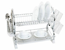 2 Tier Plates Dish Cutlery Cup Drainer Rack Drip With Tray Holder Black Chrome