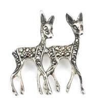 Vintage Art Deco Reh-Brosche Silber 835 mit Markasit Bambi Rehkitz