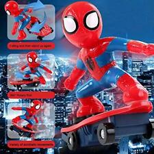 Electric 360° Rotating Spiderman Shunt Scooter W/ Music Light Kids Toys Gift Us