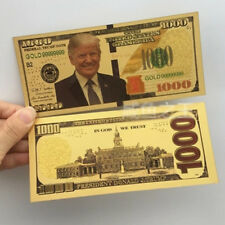 1 X President Donald Trump New Colorized $1000 Dollar Bill Gold Foil Banknote