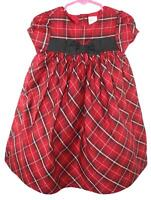 Gymboree Toddler Girls Red Plaid Cap Sleeve Holiday Dress Size 18-24 Months