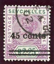 """Seychelles 1902 QV 45 C su 2R 25c riga 4/1 Narrow """" 5"""" varietà VFU. SG 45A."""