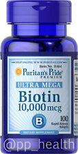 Puritan's Pride Biotin 10,000 mcg 100 Softgels Skin&Hair Health MADEinUSA