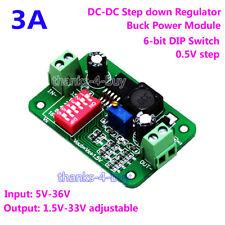 3A DC-DC Buck Step Down Power Module 5-36V to 1.5V 3V 3.3V 5V 12V 24V DIP Switch