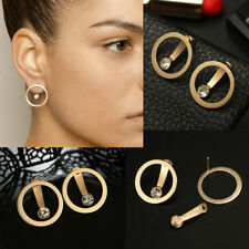 1 Pair Gold Plated Crystal Bead Circle Stud Earrings Double Side Ear Jewelry
