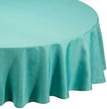 """TABLE CLOTH LINEN LOOK TEAL (69"""") ROUND POLYESTER STYLISH KITCHEN ELEGANT"""